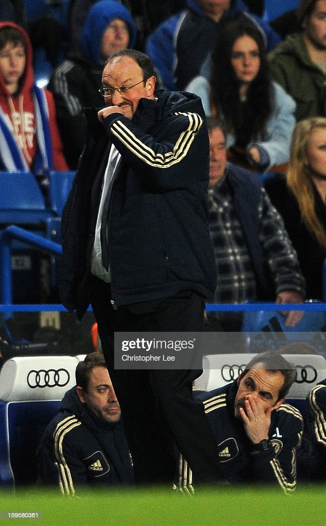 Coach Rafa Benitez of Chelsea pulls a face during the Barclays Premier League match between Chelsea and Southampton at Stamford Bridge on January 16, 2013 in London, England.
