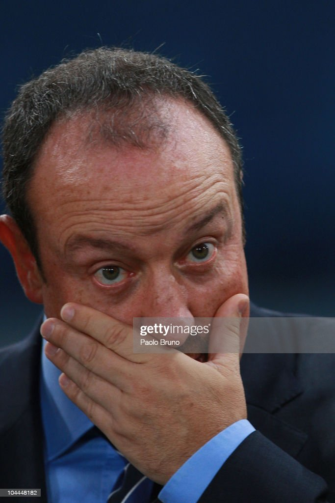 Coach Rafael Benitez of FC Internazionale Milano reacts during the Serie A match between AS Roma and FC Internazionale Milano at Stadio Olimpico on September 25, 2010 in Rome, Italy.