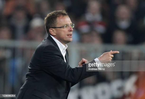 Coach Ralf Rangnick of Hoffenheim reacts during the Bundesliga match between FC St Pauli Hamburg and1899 Hoffenheim at Millerntor Stadium on August...