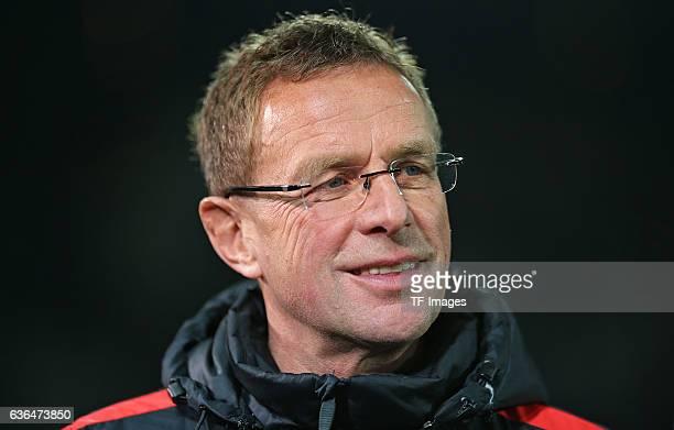Coach Ralf Rangnick of RB Leipzig looks on during the Second Bundesliga match between FC St Pauli and RasenBallsport Leipzig at MillerntorStadion on...