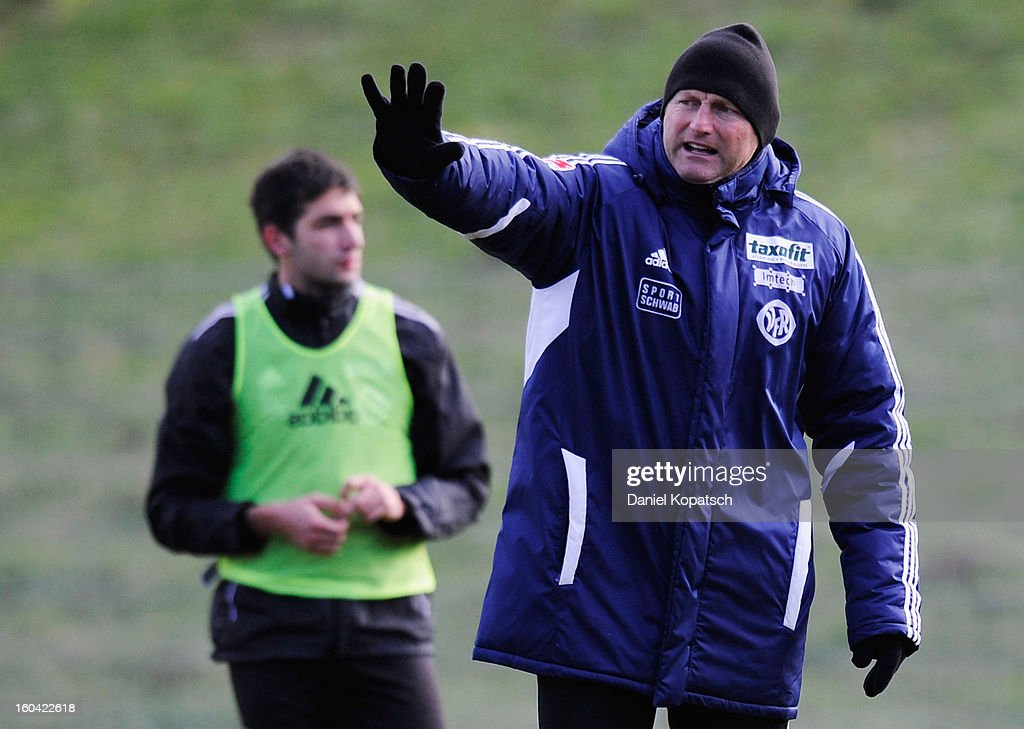 Coach Ralph Hasenheuttl reacts during the training session of VfR Aalen on January 31, 2013 in Aalen, Germany.