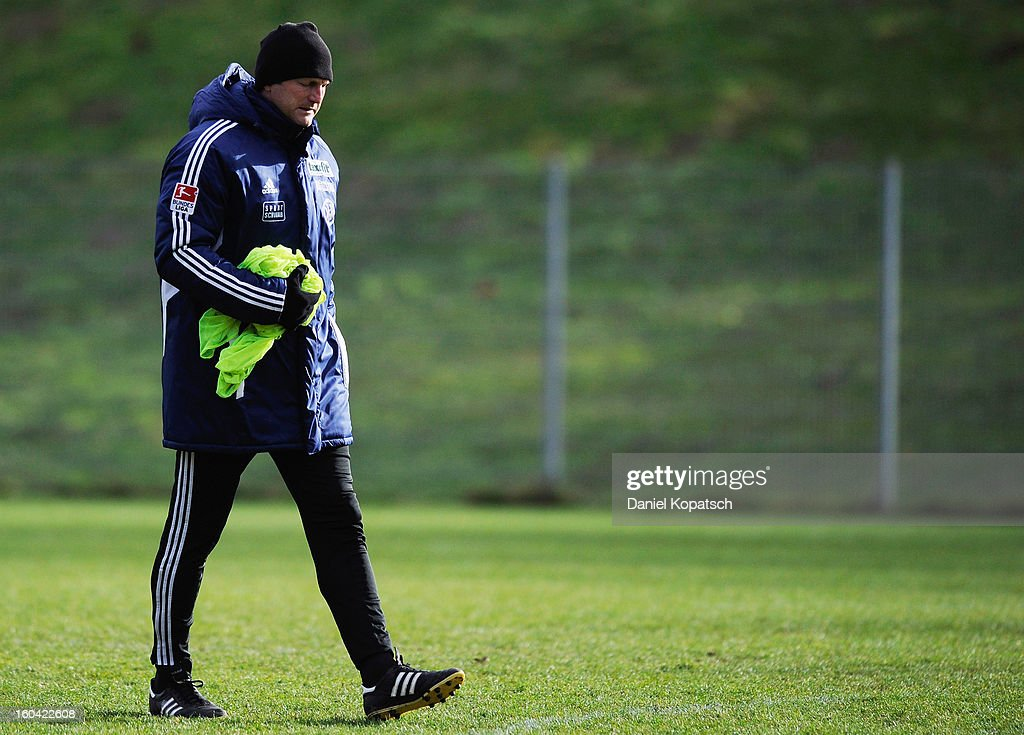 Coach Ralph Hasenhuettl looks on to the training session of VfR Aalen on January 31, 2013 in Aalen, Germany.