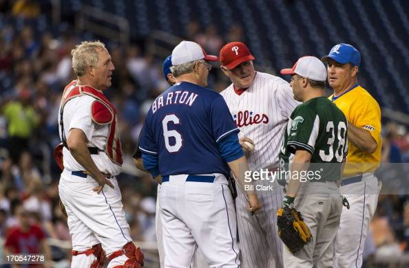 GOP coach Rep Joe Barton RTexas has a word with his players on the pitching mound during the 52nd annual Congressional Baseball Game at national...