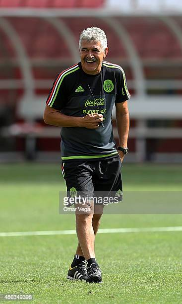 Coach Ricardo Ferretti laughs during a Mexico National Team Training Session at Rio Tinto Stadium on September 03 2015 in Sandy United States