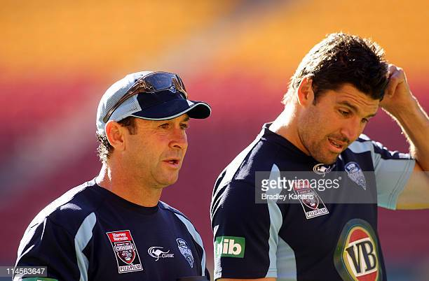 Coach Ricky Stuart and Assistant Coach Trent Barrett watch on during a New South Wales Blues State of Origin training session at Suncorp Stadium on...