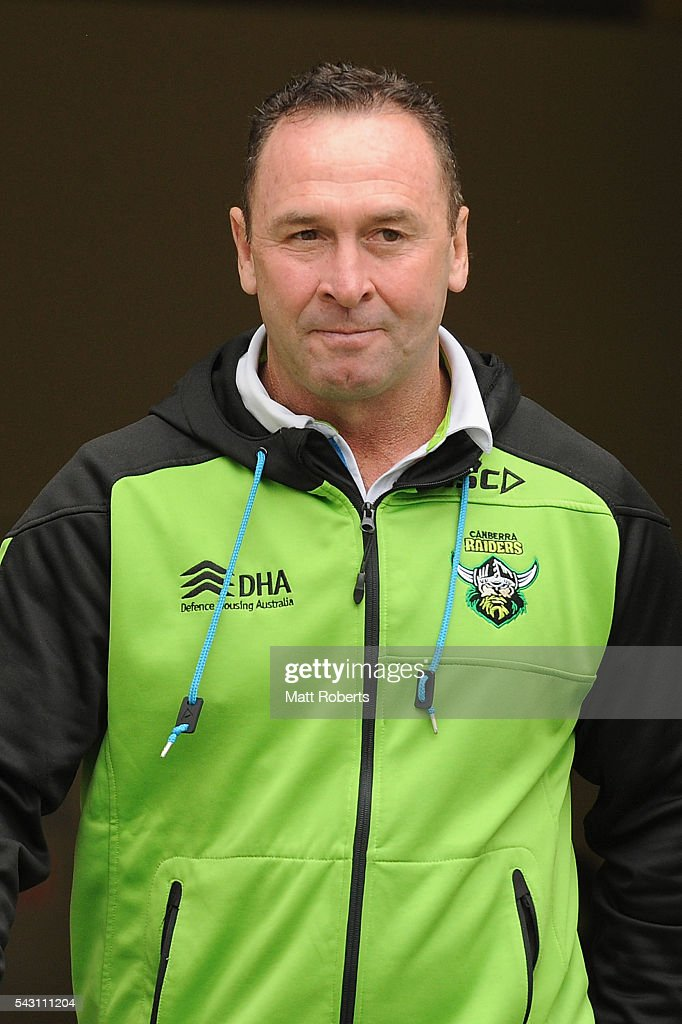 Coach Ricky Stuart of the Raiders looks on during the round 16 NRL match between the Gold Coast Titans and the Canberra Raiders at Cbus Super Stadium on June 26, 2016 in Gold Coast, Australia.