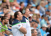Coach Ricky Stuart of the Raiders watches on from the sideline during the round 24 NRL match between the Gold Coast Titans and the Canberra Raiders...
