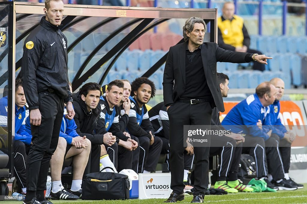 coach Rob Maas of Vitesse during the Dutch Eredivisie match between Vitesse Arnhem and FC Utrecht at Gelredome on May 01, 2016 in Arnhem, The Netherlands