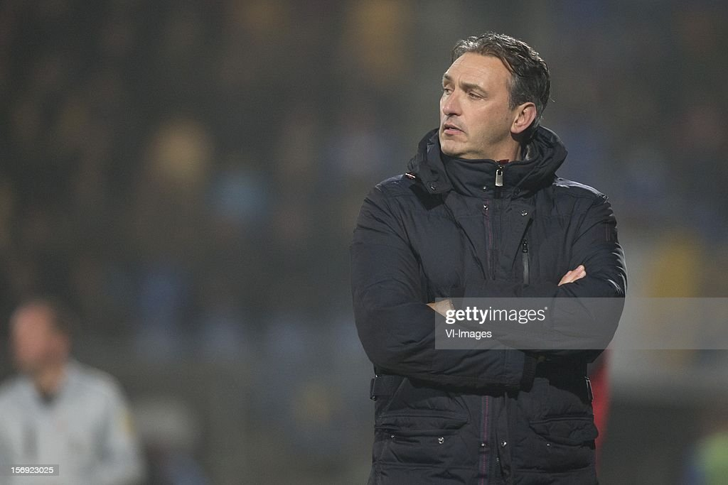 Coach Robbert Maaskant of FC Groningen during the Dutch Eredivisie match between RKC Waalwijk and FC Groningen at the Mandemakers Stadium on November 24, 2012 in Waalwijk, The Netherlands.