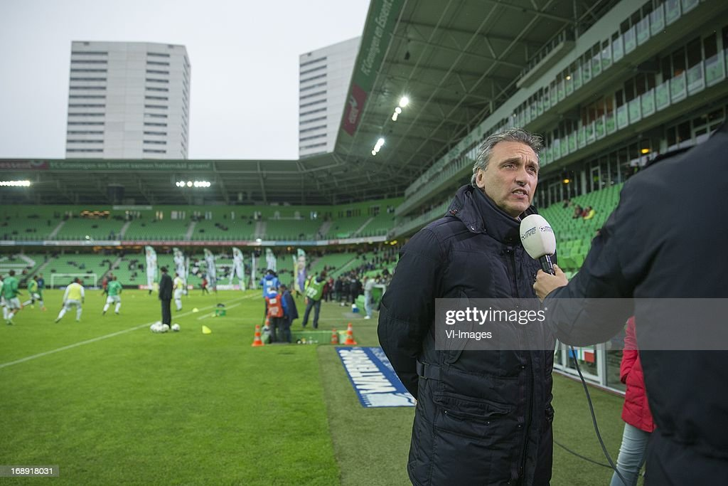 Coach Robbert Maaskant of FC Groningen during the Eredivisie Europa League Playoff match between FC Groningen and FC Twente on May 16, 2013 at the Euroborg stadium at Groningen, The Netherlands.