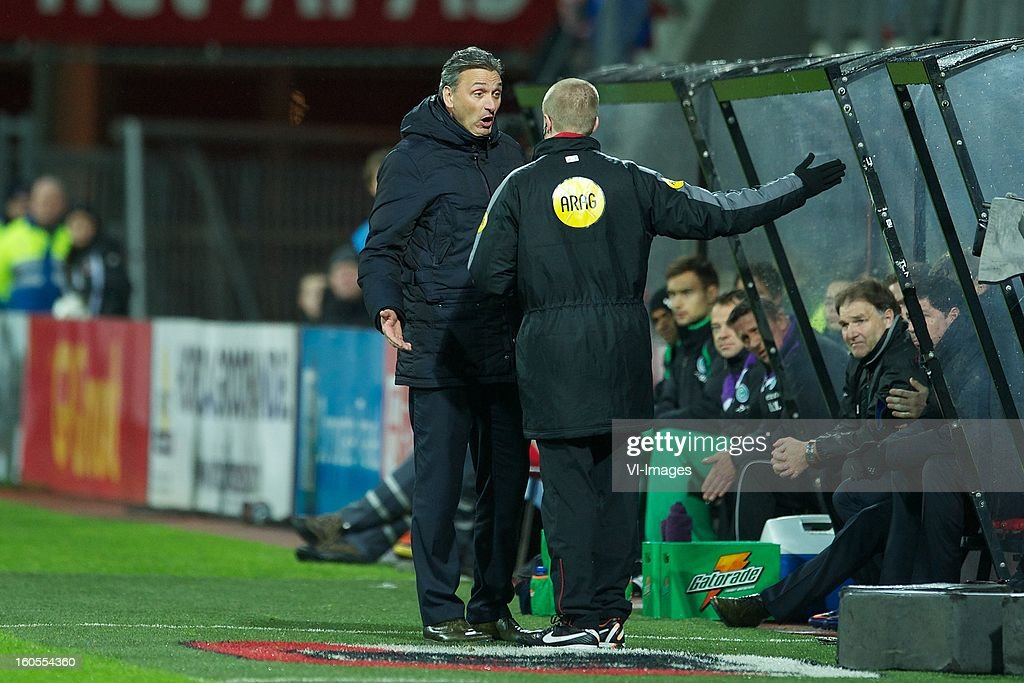 coach Robert Maaskant of FC Groningen, assistant referee Karel van den Heuvel during the Dutch Eredivisie match between AZ Alkmaar and FC Groningen at the AFAS Stadium on february 2, 2013 in Alkmaar, The Netherlands