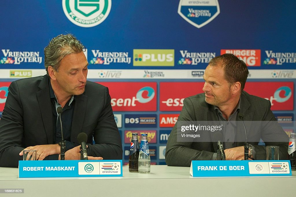 coach Robert Maaskant of FC Groningen, coach Frank de Boer of Ajax during the Dutch Eredivisie match between FC Groningen and Ajax on May 12, 2013 at the Euroborg stadium in Groningen, The Netherlands.