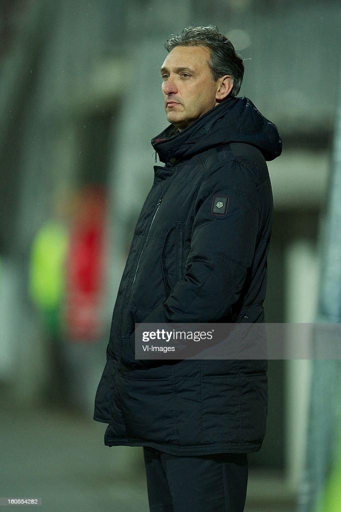 coach Robert Maaskant of FC Groningen during the Dutch Eredivisie match between AZ Alkmaar and FC Groningen at the AFAS Stadium on february 2, 2013 in Alkmaar, The Netherlands