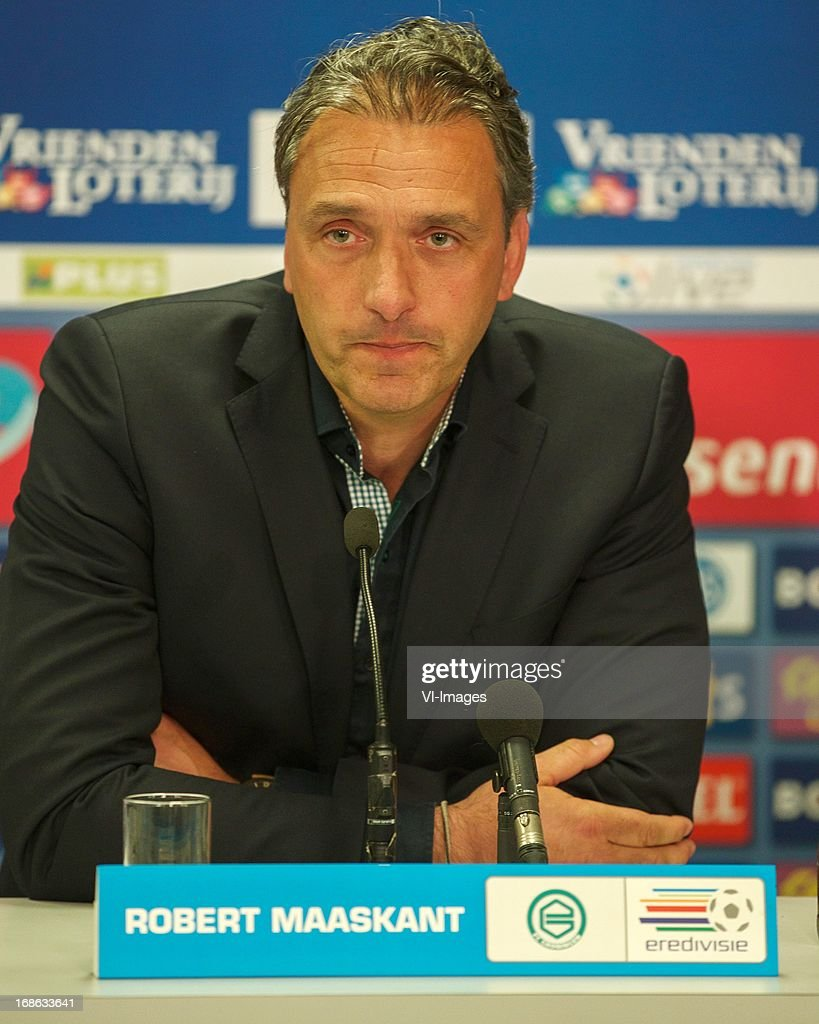 coach Robert Maaskant of FC Groningen during the Dutch Eredivisie match between FC Groningen and Ajax on May 12, 2013 at the Euroborg stadium in Groningen, The Netherlands.