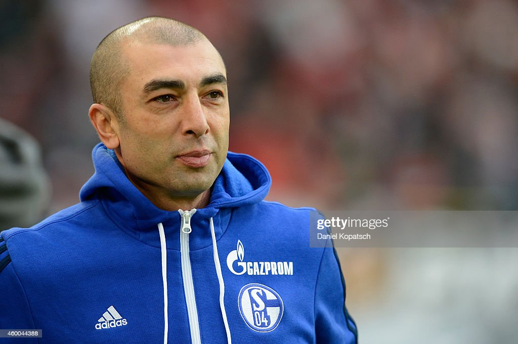 Coach Roberto di Matteo of Schalke looks on prior to the first Bundesliga match between VfB Stuttgart and FC Schalke 04 at Mercedes-Benz Arena on December 6, 2014 in Stuttgart, Germany.