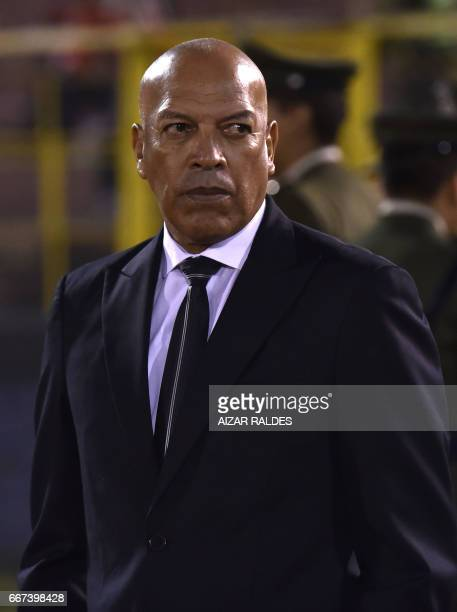 Coach Roberto Mosquera of Bolivia's Wilstermann during their Copa Libertadores match against Atletico Tucuman of Argentina at Felix Capriles Stadium...