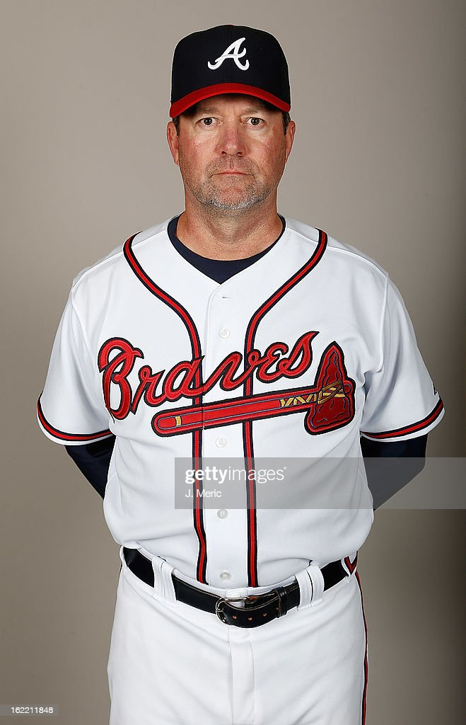Coach Roger McDowell #45 of the Atlanta Braves poses for a photo during photo day at Champion Stadium at the ESPN Wide World of Sports Complex at Walt Disney World on February 20, 2013 in Lake Buena Vista, Florida.