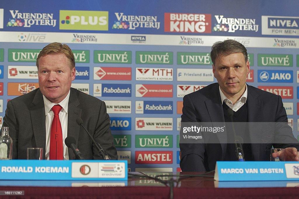 coach Ronald Koeman of Feyenoord, coach Marco van Basten of SC Heerenveen during the Dutch Eredivisie match between SC Heerenveen and Feyenoord at the Abe Lenstra Stadium on march 30, 2013 in Heerenveen, The Netherlands