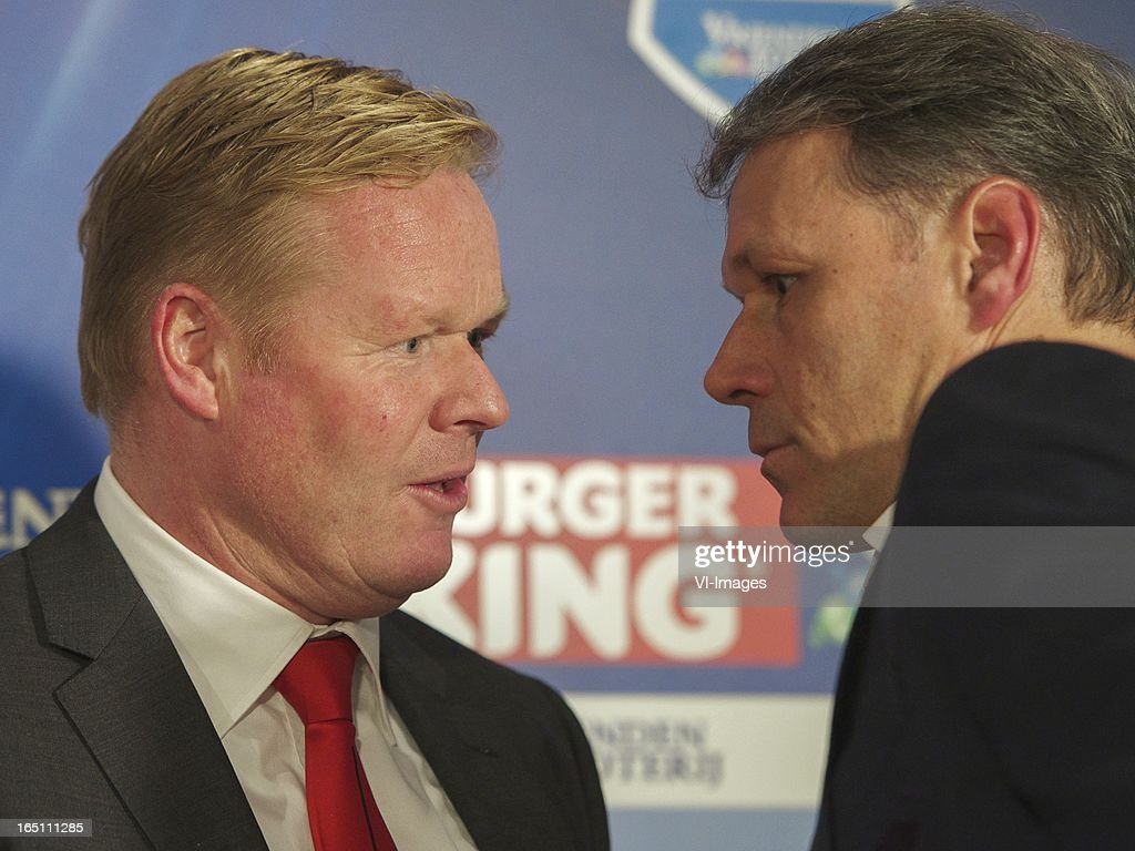 coach Ronald Koeman of Feyenoord, coach Marco van Basten of SC Heerenveen during the Dutch Eredivisie match between SC Heerenveen and Feyenoord at the Abe Lenstra Stadium on march 30, 2013 in Heerenveen, The Netherlands