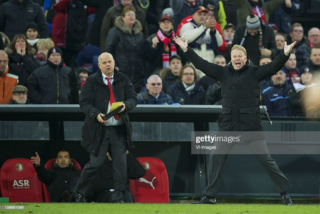 coach Ronald Koeman of Feyenoord during the Dutch Eredivise match between Feyenoord and FC Groningen at stadium De Kuip on December 23, 2012 in Rotterdam, The Netherlands.