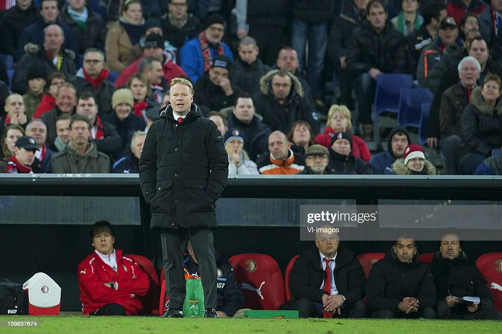 coach Ronald Koeman of Feyenoord during the Dutch Eredivise match between Feyenoord and FC Groningen at stadium De Kuip on December 23, 2012 in Rotterdam, The Netherlands.