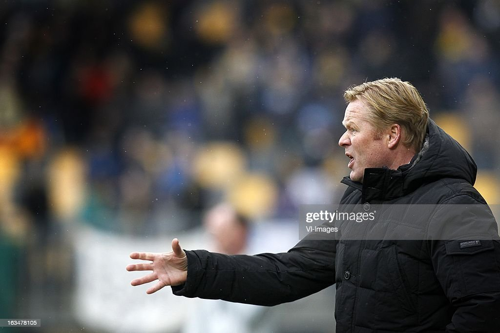 coach Ronald Koeman of Feyenoord during the Dutch Eredivisie match between Roda JC Kerkrade and Feyenoord at the Parkstad Limburg on march 10, 2013 in Kerkrade, The Netherlands