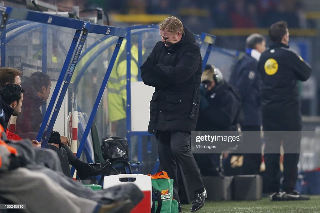 coach Ronald Koeman of Feyenoord during the Dutch Eredivisie match between SC Heerenveen and Feyenoord at the Abe Lenstra Stadium on march 30, 2013 in Heerenveen, The Netherlands