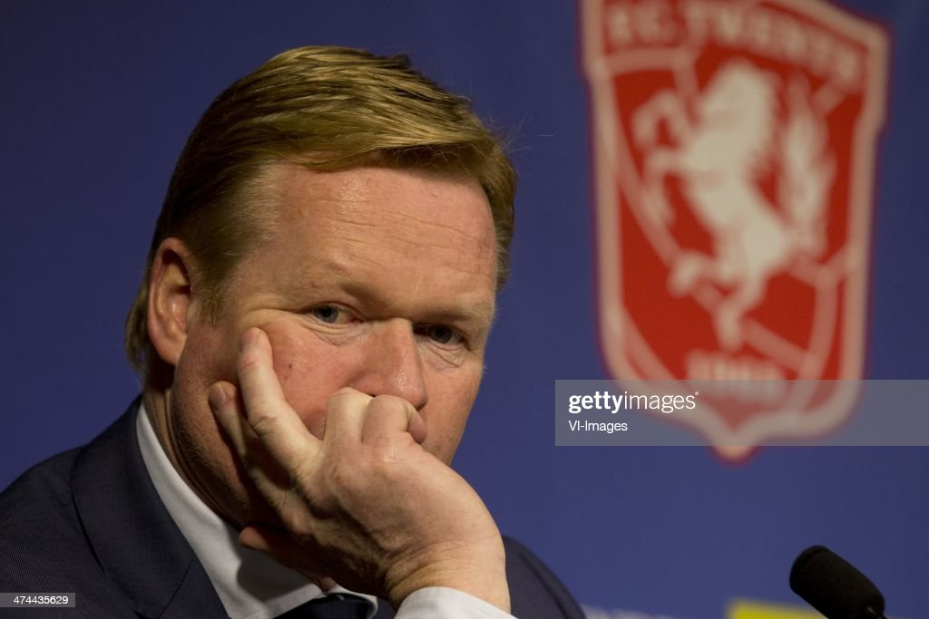 Coach Ronald Koeman of Feyenoord during the Dutch Eredivisie match between FC Twente and Feyenoord at the Grolsch Veste on february 23 2014 in...