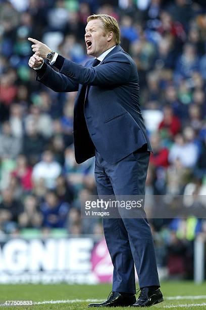 Coach Ronald Koeman of Feyenoord during the Dutch Eredivisie match between FC Groningen and Feyenoord Rotterdam at Euroborg on March 9 2014 in...