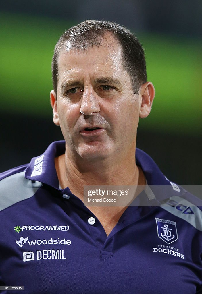 Coach Ross Lyon of the Fremantle Dockers walks off after their loss in the round one NAB Cup match between the West Coast Eagles and the Fremantle Dockers at Patersons Stadium on February 16, 2013 in Perth, Australia.