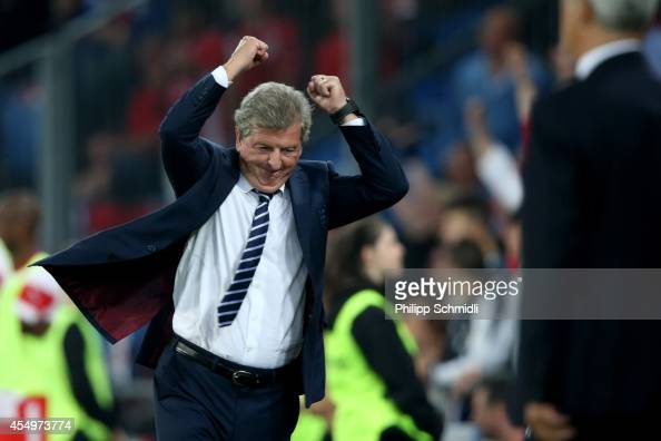 Coach Roy Hodgson of England celebrates a scored goal during the EURO 2016 Qualifier match between Switzerland and England on September 8 2014 in...
