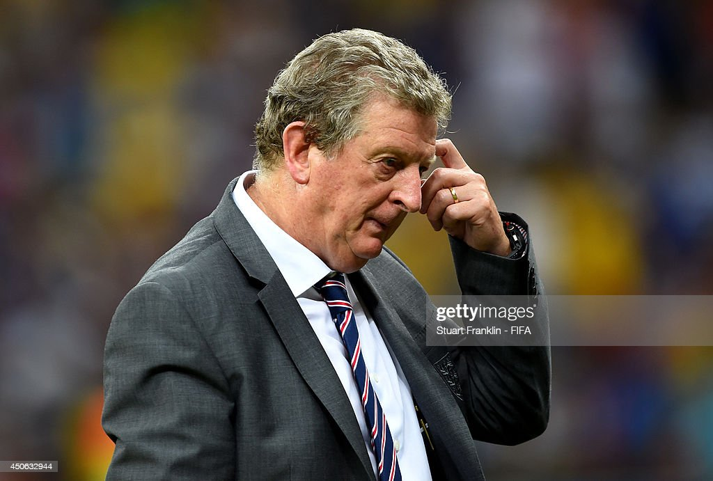 Coach Roy Hodgson of England looks on during the 2014 FIFA World Cup Brazil Group D match between England and Italy at Arena Amazonia on June 14, 2014 in Manaus, Brazil.