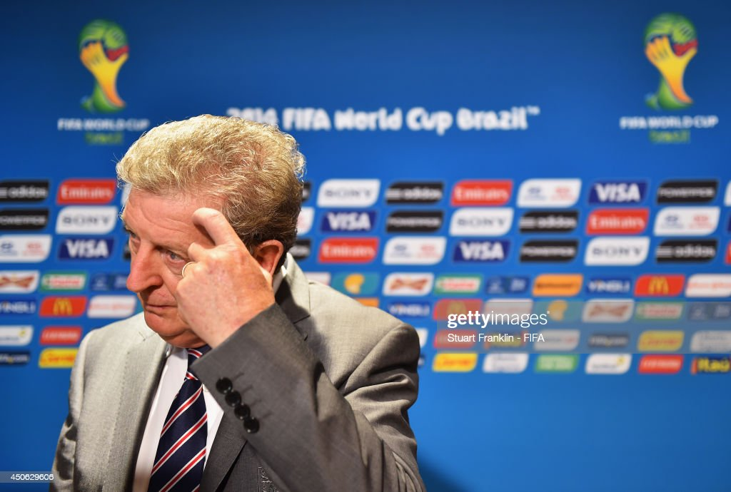 Coach Roy Hodgson of England speaks to the media in the mixed zone after the 2014 FIFA World Cup Brazil Group D match between England and Italy at Arena Amazonia on June 14, 2014 in Manaus, Brazil.