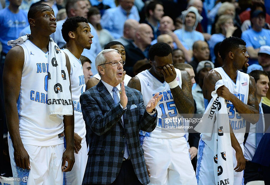 Coach Roy Williams and the North Carolina Tar Heels starters watch the reserves during the final minute of a win over the Georgia Tech Yellow Jackets at the Dean Smith Center on January 23, 2013 in Chapel Hill, North Carolina. North Carolina won 79-63.