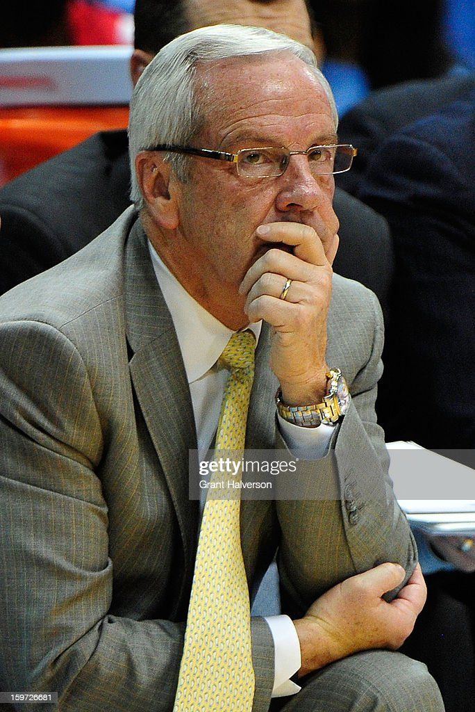 Coach Roy Williams of the North Carolina Tar Heels directs his team against the Maryland Terrapins during play at the Dean Smith Center on January 19, 2013 in Chapel Hill, North Carolina. North Carolina won 62-52.