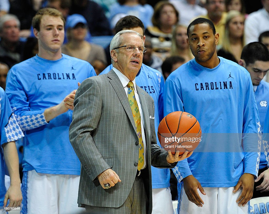 Coach Roy Williams of the North Carolina Tar Heels directs his team against the Wake Forest Demon Deacons during play at the Dean Smith Center on February 5, 2013 in Chapel Hill, North Carolina. North Carolina won 87-62.