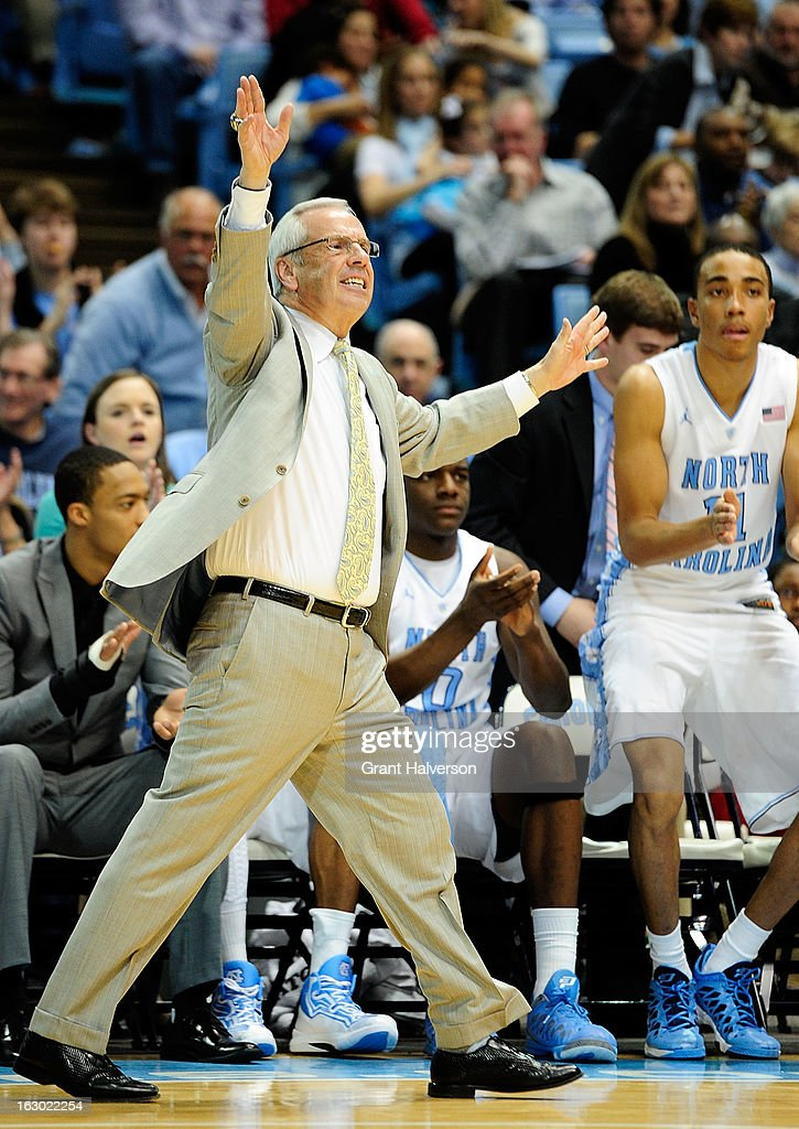 Coach Roy Williams of the North Carolina Tar Heels directs his team against the Florida State Seminoles during play at Dean Smith Center on March 3, 2013 in Chapel Hill, North Carolina. North Carolina won 79-58.