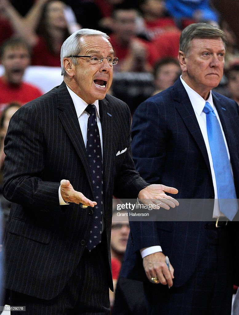 Coach Roy Williams of the North Carolina Tar Heels reacts durig a loss to the North Carolina State Wolfpack at PNC Arena on January 26, 2013 in Raleigh, North Carolina.