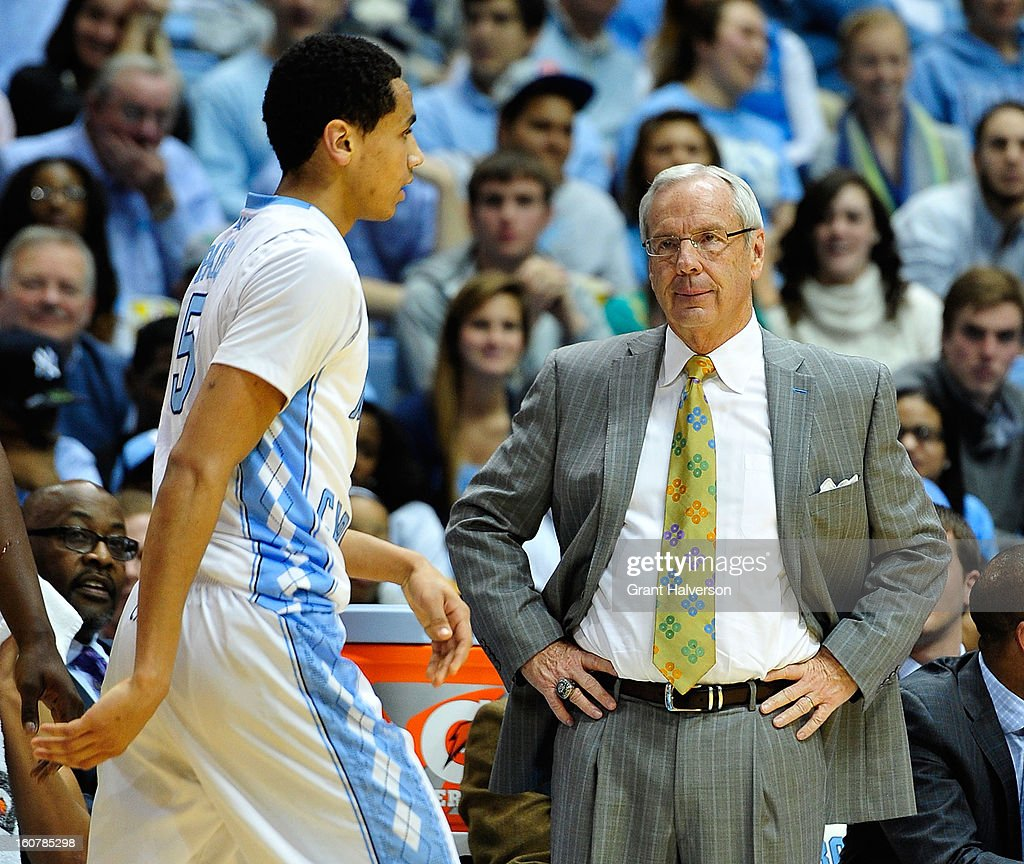 Coach Roy Williams stares down Marcus Paige #5 of the North Carolina Tar Heels after Paige turned the ball over against the Wake Forest Demon Deacons during play at the Dean Smith Center on February 5, 2013 in Chapel Hill, North Carolina. North Carolina won 87-62.