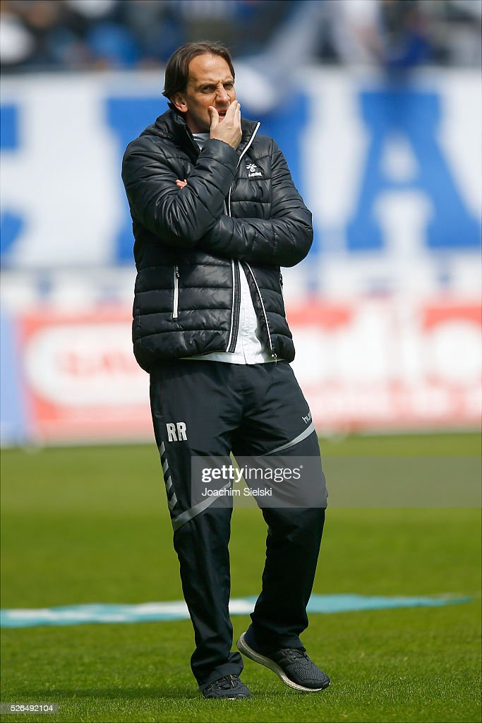 Coach Ruediger Rehm of Sonnenhof-Grossaspach before the Third League match between 1. FC Magdeburg and SG Sonnenhof-Grosssaspach at MDCC-Arena on April 30, 2016 in Magdeburg, Germany.