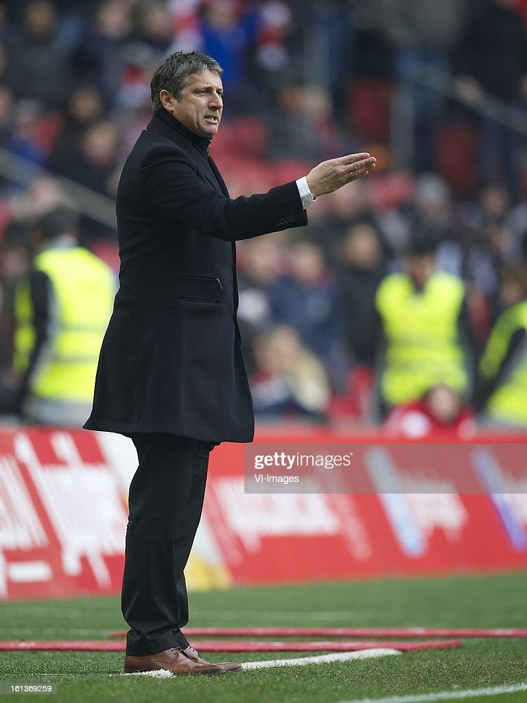 coach Ruud Brood of Roda JC during the Dutch Eredivisie match between Ajax Amsterdam and Roda JC Kerkrade at the Amsterdam Arena on february 10, 2013 in Amsterdam, The Netherlands