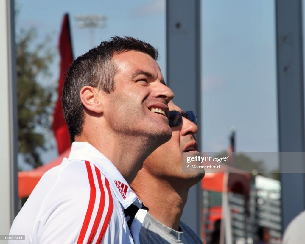 Coach <a gi-track='captionPersonalityLinkClicked' href=/galleries/search?phrase=Ryan+Nelsen&family=editorial&specificpeople=220929 ng-click='$event.stopPropagation()'>Ryan Nelsen</a> of Toronto FC stands for the National Anthem before play against the Columbus Crew February 9, 2013 in the first round of the Disney Pro Soccer Classic in Orlando, Florida. Columbus won 1 - 0.