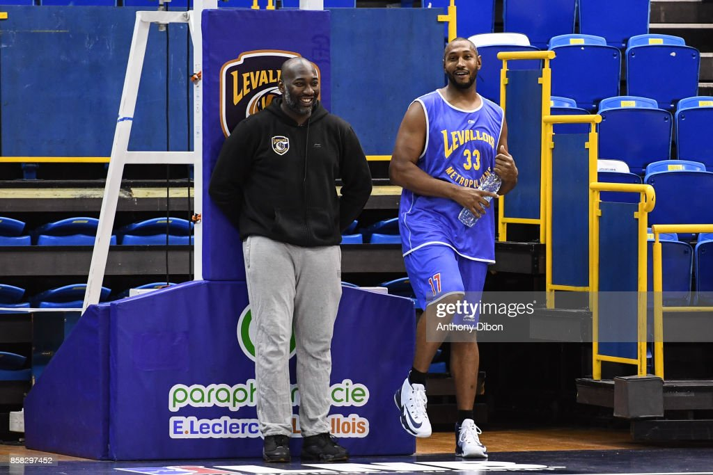 Coach Sacha Giffa and Boris Diaw during training session of Levallois Metropolitans on October 6, 2017 in Levallois-Perret, France.