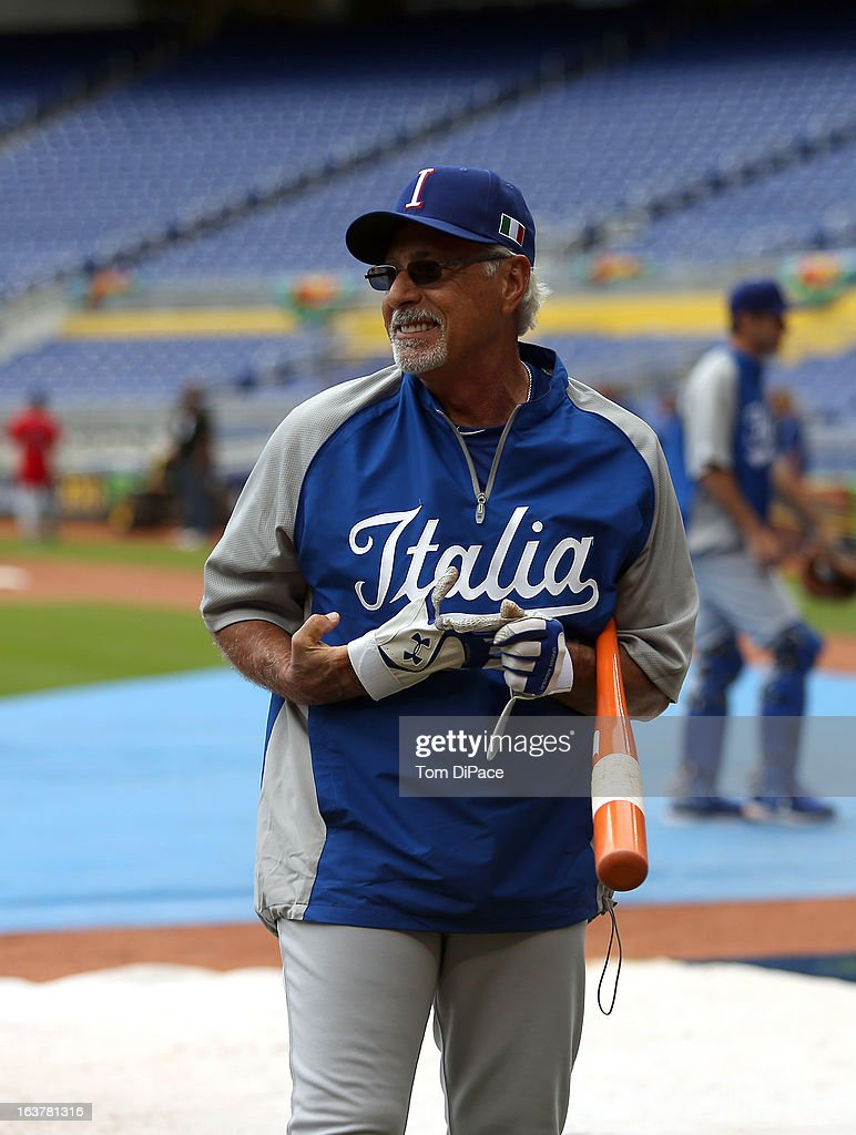 Coach Sam Perlazzo of Team Italy smiles during the workout day for the 2013 World Baseball Classic on March 11, 2013 at Marlins Park in Miami, Florida.