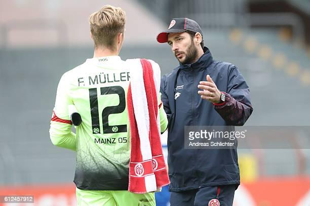 Coach Sandro Schwarz and Florian Mueller of FSV Mainz 05 II during the Third League match between 1FSV Mainz 05 II and RW Erfurt at Bruchweg Stadium...