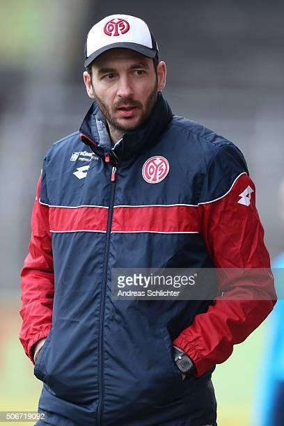 Coach Sandro Schwarz of FSV Mainz 05 II during the Third League match between 1 FSV Mainz 05 II and Wehen Wiesbaden at Bruchweg Stadium on January 23...