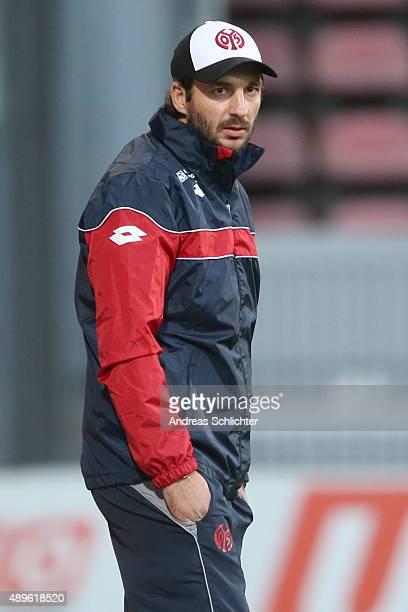 Coach Sandro Schwarz of Mainz 05 II during the Third League match between 1 FSV Mainz 05 II and Erzgebirge Aue at Bruchweg Stadium on September 22...