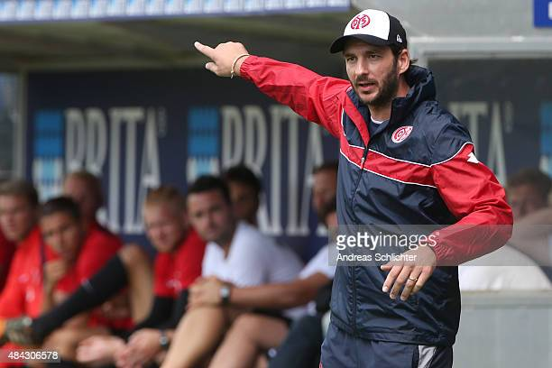 Coach Sandro Schwarz of Mainz during the Third league match between SV Wehen Wiesbaden and 1 FSV Mainz 05 II at BRITAArena on August 15 2015 in...