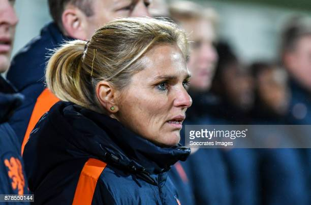 Coach Sarina Wiegman of Holland Women during the World Cup Qualifier Women match between Slovakia v Holland at the National Training Center on...