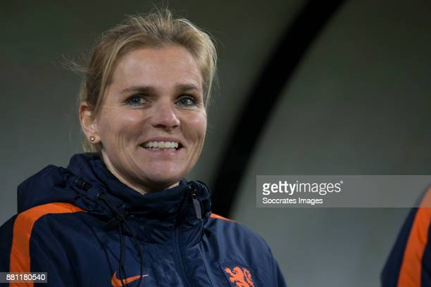 Coach Sarina Wiegman of Holland Women during the World Cup Qualifier match between Holland v Republic of Ireland at the Goffert Stadium on November...